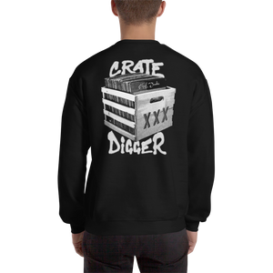 Crate Digger (Back) Sweatshirt - Vinyl Clothing Co - DJ Apparel Clothing Disc Jockey Vinyl Gear