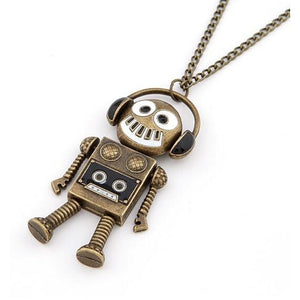 Quirky DJ Robot Pendant Necklace