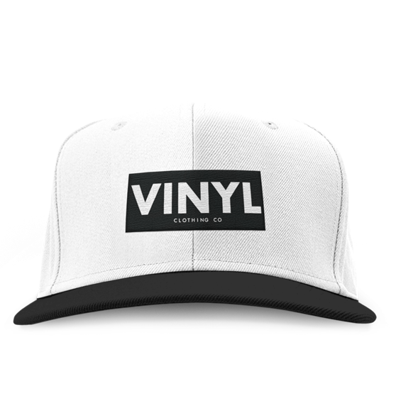 Vinyl Clothing Co Snapback Hat - White/Black - Vinyl Clothing Co - DJ Apparel Clothing Disc Jockey Vinyl Gear