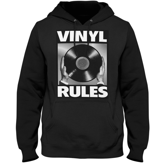 Vinyl Rules DJ Hoodie (Black) - Vinyl Clothing Co - DJ Apparel Clothing Disc Jockey Vinyl Gear