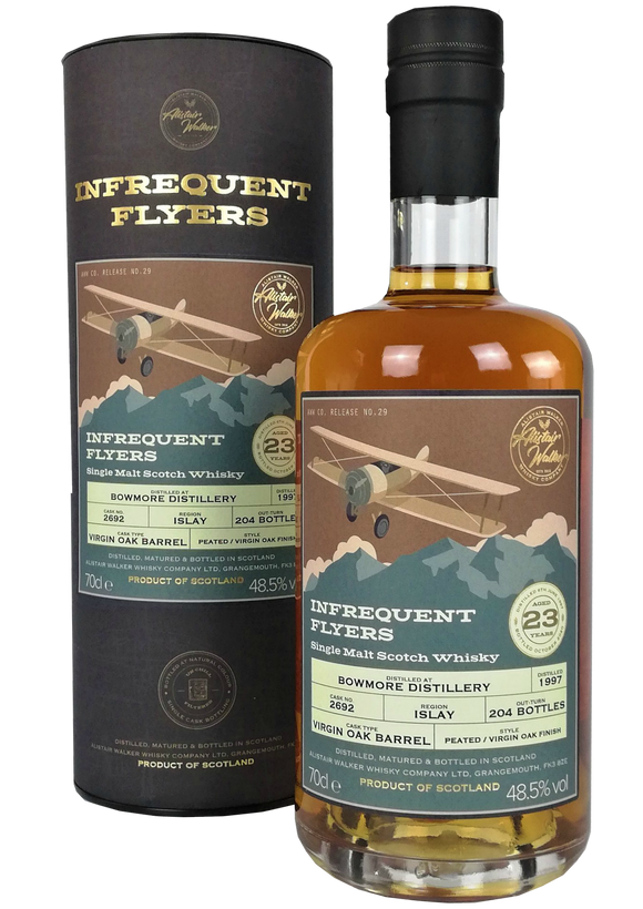Infrequent Flyers Bowmore 1997 23 Year Old Peated Virign Oak Cask