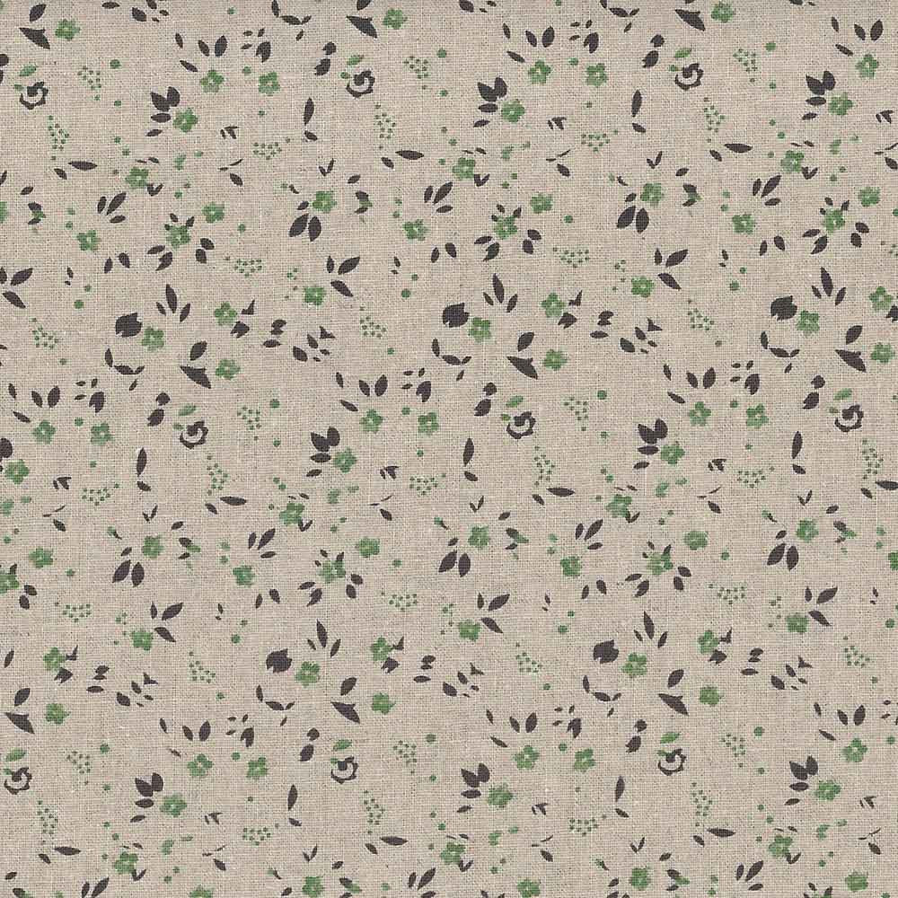 SMALL FLORAL NATURAL LINEN BLEND WIDE