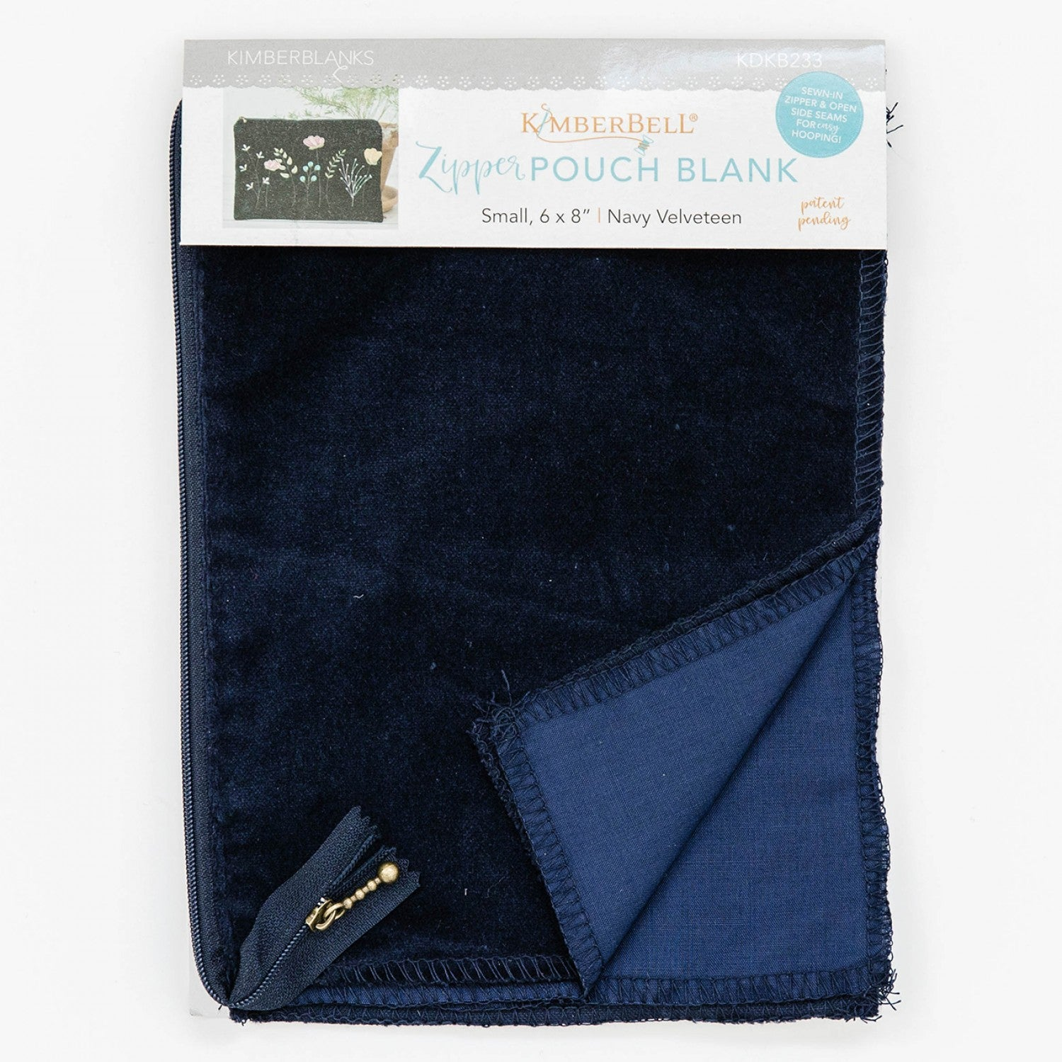 NAVY VELVETEEN ZIPPER SM