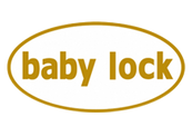 Baby Lock logo with gold words and white background