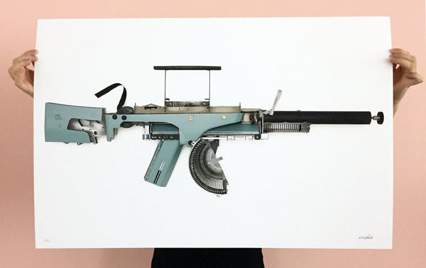 Between Life and Art: Éric Nado Typewriter Gun Prints