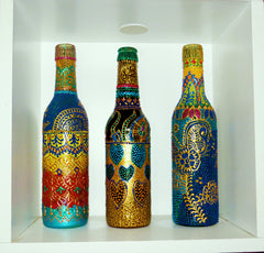 Bottles on Shelf Decor