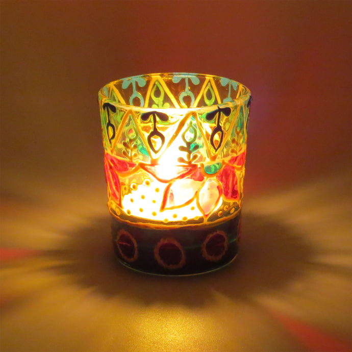 Minakari 2  Tea Light Glass Candle Holder 2 x 2.5 Inches - Ankansala