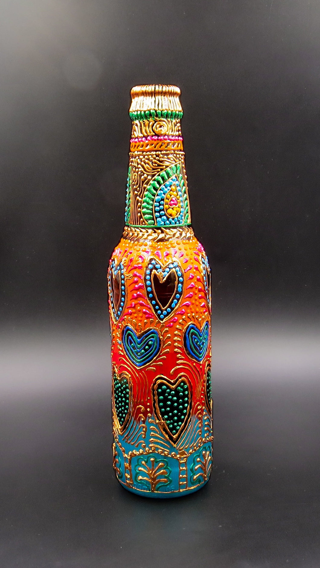 Color Splash Hand Painted Decorative Glass Bottle - Ankansala