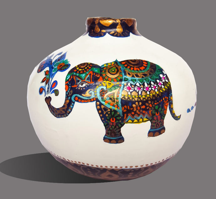 Hand Painted Royal Elephant Terracotta Vase - Ankansala