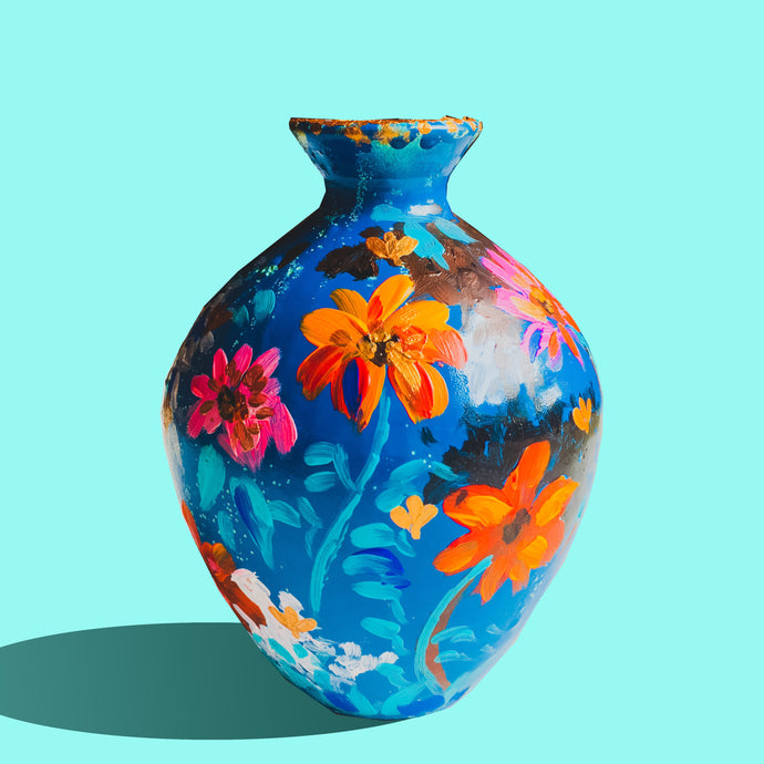 Blue Love Terracotta Vase - Ankansala
