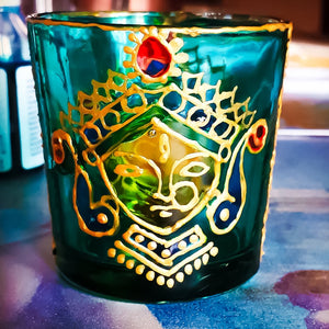 Durga Tea Light Glass Candle Holder 2 x 2.5 Inches - Ankansala