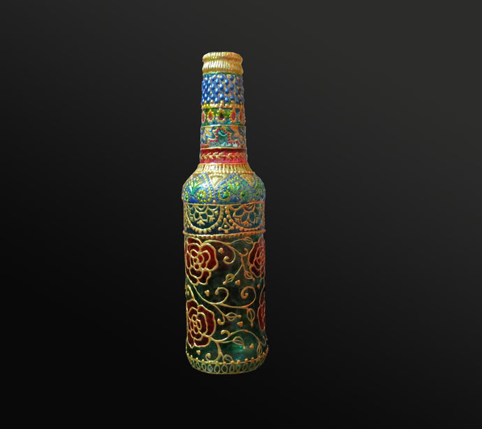 Rose in the Garden Hand Painted Decorative Bottle Vase - Ankansala