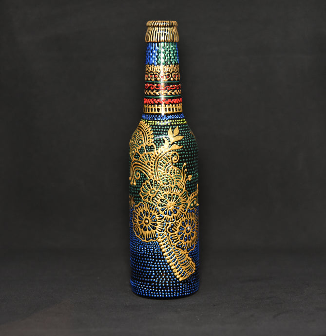 Golden Kalka Tree Hand Painted Decorative Bottle Vase - Ankansala