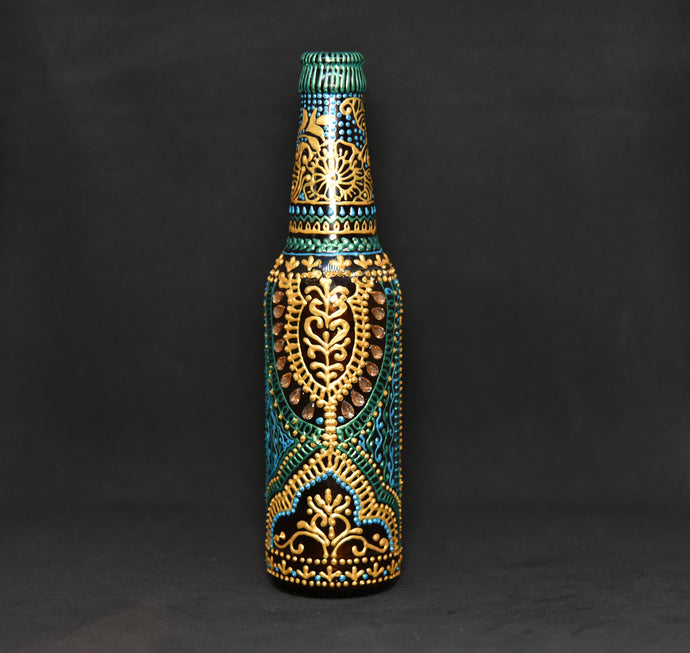 Green Kalka Hand Painted Decorative Bottle Vase - Ankansala