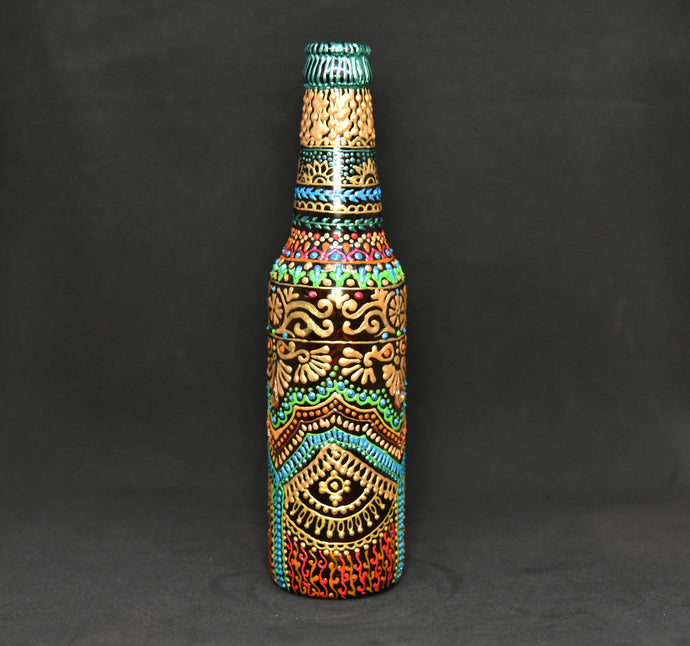 Golden Way Hand Painted Decorative Bottle Vase - Ankansala