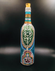 Silver Peacock Hand Painted Decorative Glass Bottle - Ankansala