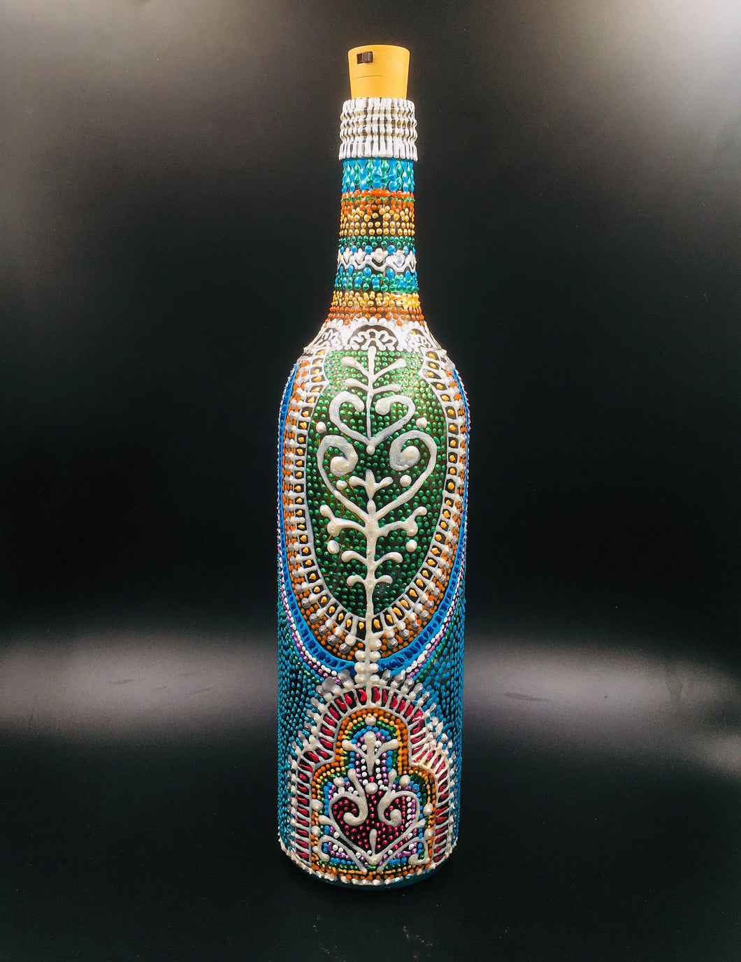 Silver Peacock Hand Painted Decorative Bottle Vase - Ankansala