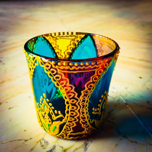 Rangoli 4 Tea Light Glass Candle Holder 2.5 x 2.5 Inches - Ankansala