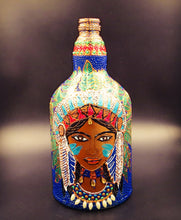 Tribal Lady with Green Feathers Hand Painted Decorative Bottle Vase - Ankansala