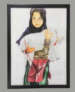 Girl with Baby Lamb Framed Wall Art - Ankansala