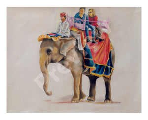 Elephant Ride- Fine Art Canvas Print- Wall Art - Ankansala