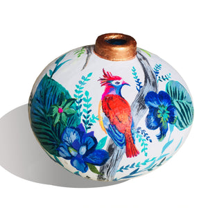 Hand Painted Rainforest Adventure Terracotta Vase - Ankansala