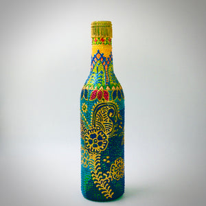 Vibrant Kalka Hand Painted Decorative Glass Bottle - Ankansala
