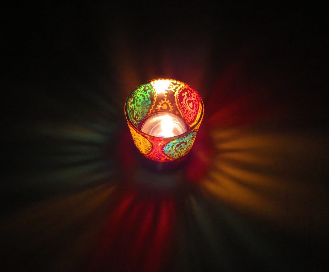Rangoli Tea Light Glass Candle Holder 2 x 2.5 Inches - Ankansala