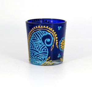 Blue Kalka Tea Light Glass Candle Holder- 2 x 2.5 Inches - Ankansala