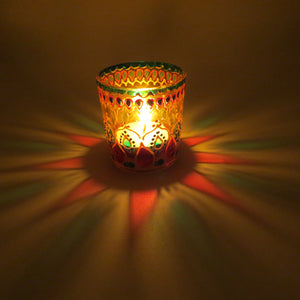 Haveli Tea Light Glass Candle Holder 2 x 2.5 Inches