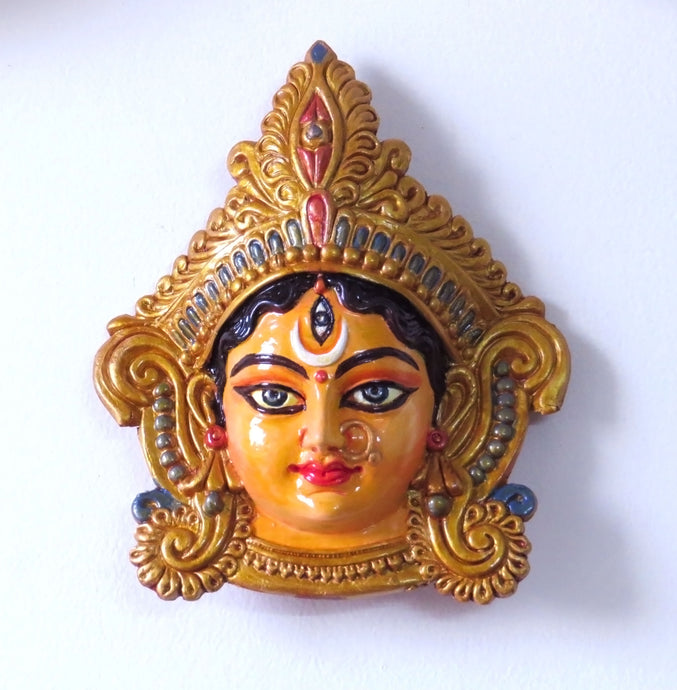 Terracotta Ma Durga Face Wall Hanging- Decorative Showpiece - Ankansala