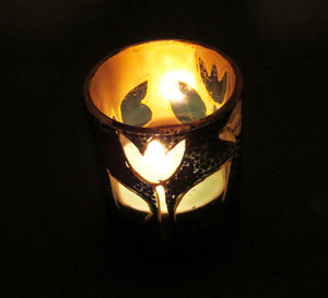 Butterfly & Flower Tea Light Glass Candle Holder- 2 x 2.5 Inches - Ankansala