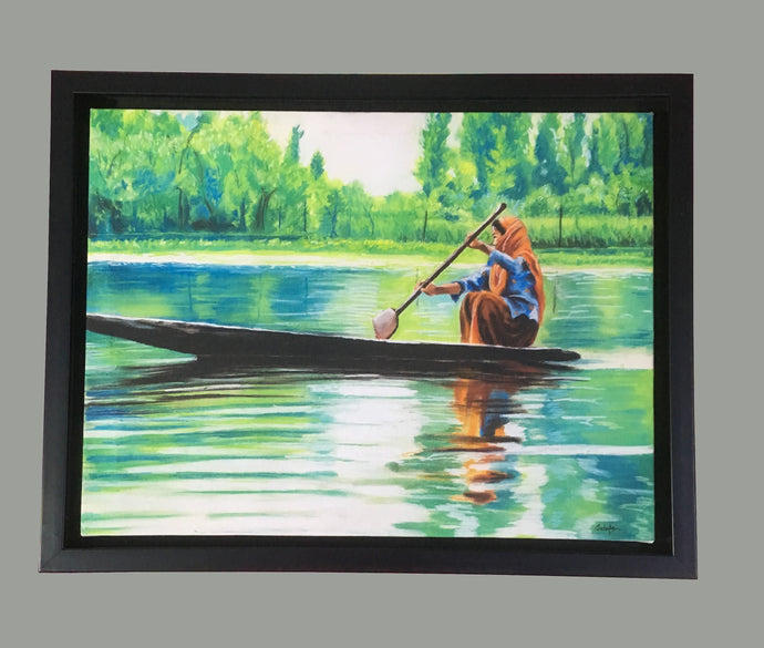 Lady in Boat Framed Wall Art - Ankansala