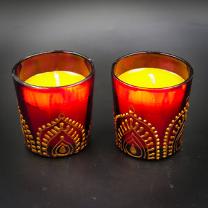 Rose Handmade Scented Candle-F | Set of 2 - Ankansala