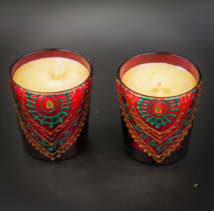 Rose Handmade Scented Soy Candle-C | Set of 2 - Ankansala