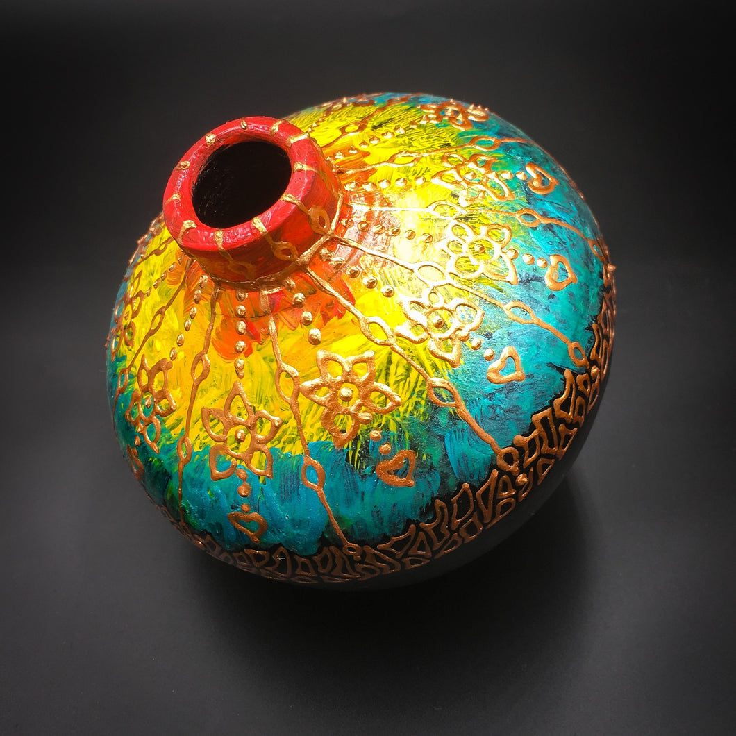 Hand Painted Rainbow Terracotta Vase - Ankansala