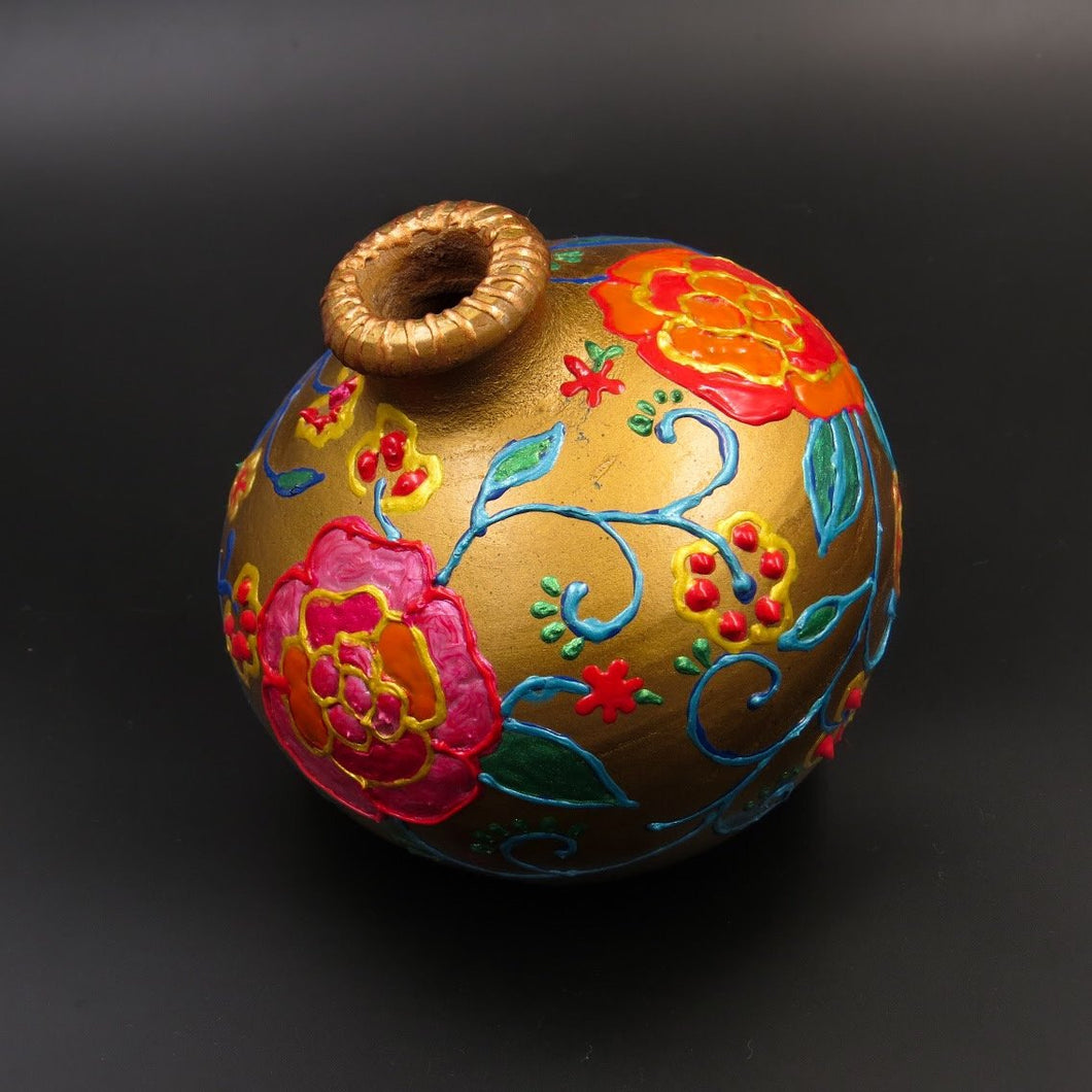 Hand Painted Golden Garden Terracotta Vase - Ankansala
