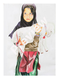 Girl with baby lamb- Fine Art Canvas Print- Wall Art - Ankansala