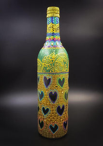 Golden Love Hand Painted Decorative Glass Bottle - Ankansala