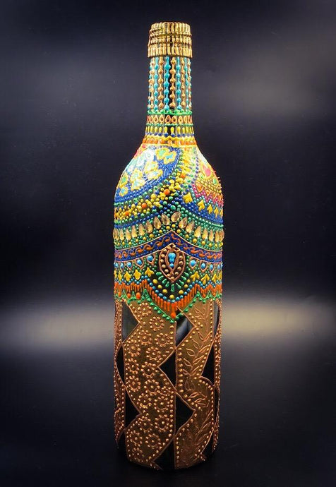 Gold Tent Hand Painted Decorative Glass Bottle - Ankansala