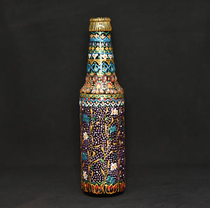 Floral Hand Painted Decorative Glass Bottle - Ankansala