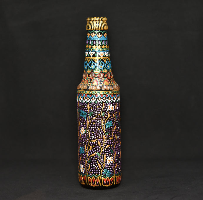 Floral Hand Painted Decorative Bottle Vase - Ankansala
