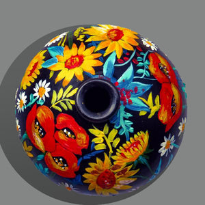 Hand Painted Flower Love Terracotta Vase - Ankansala