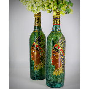 Tribal Beauty Hand Painted Decorative Glass Bottle - Ankansala