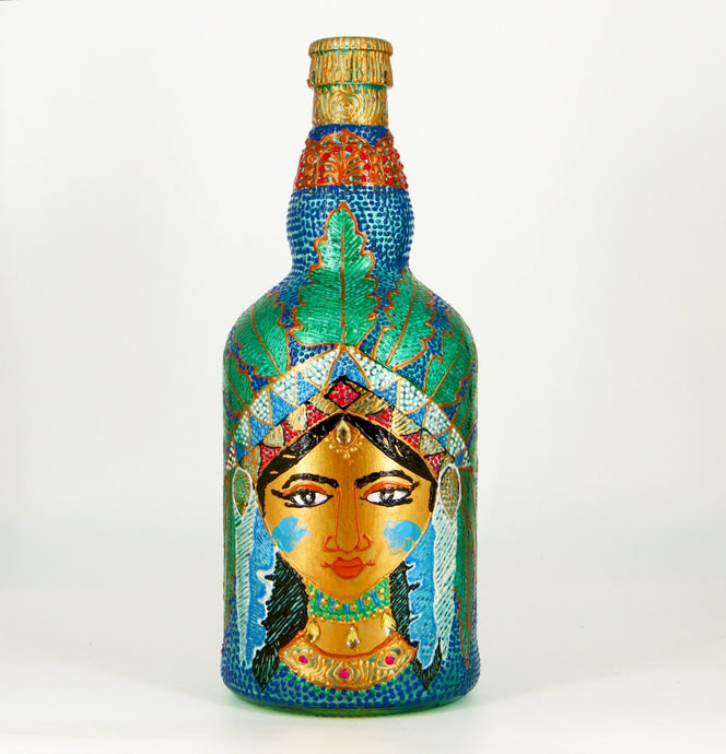 Tribal Lady with Green Feathers Hand Painted Decorative Glass Bottle - Ankansala