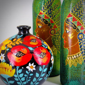 Tribal Beauty Hand Painted Decorative Bottle Vase - Ankansala