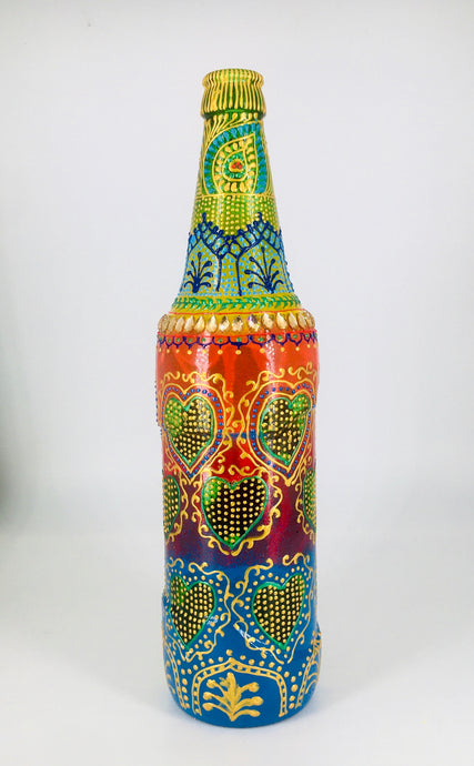 Rainbow Love Hand Painted Decorative Glass Bottle - Ankansala