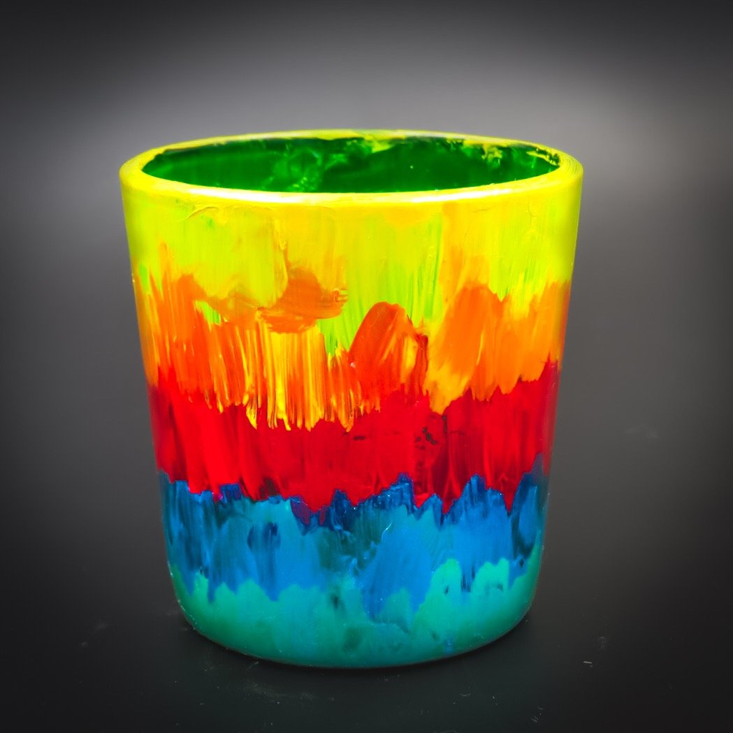 Rainbow Tea Light Glass Candle Holder- 2.5 x 2.5 Inches - Ankansala