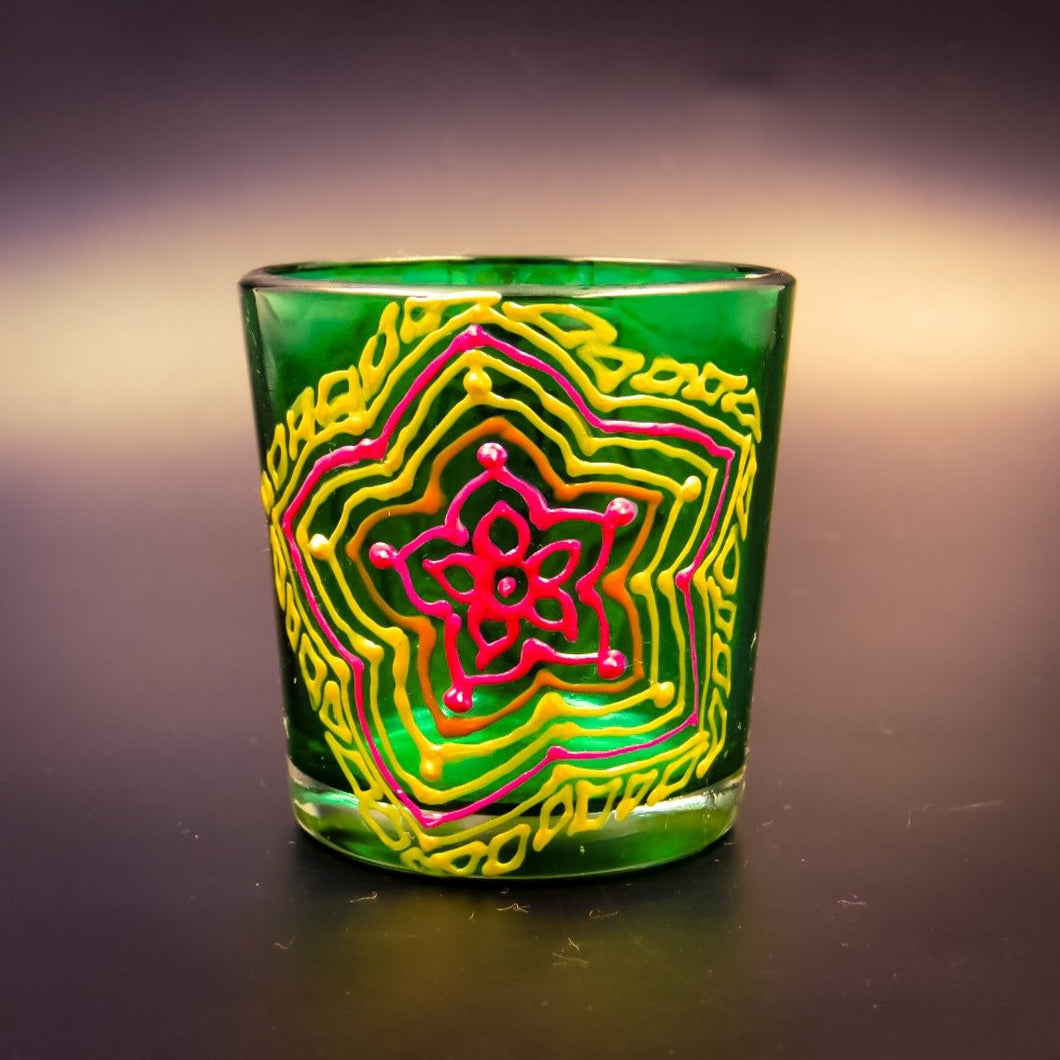 Star Tea Light Glass Candle Holder- 2.5 x 2.5 Inches - Ankansala