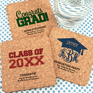Graduation Square Cork Coasters - Set of 12 (FREE SHIPPING) - Something Sweet Party Favors LLC